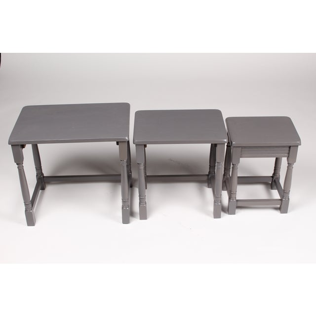 Jacobean-Style Gray Nesting Tables - Set of 3 - Image 5 of 6