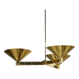 Large Scale Brass Three Arm Chandelier, Pair Available For Sale