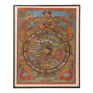 """""""Bhavacakra"""" Framed Tibetan Thangka For Sale"""