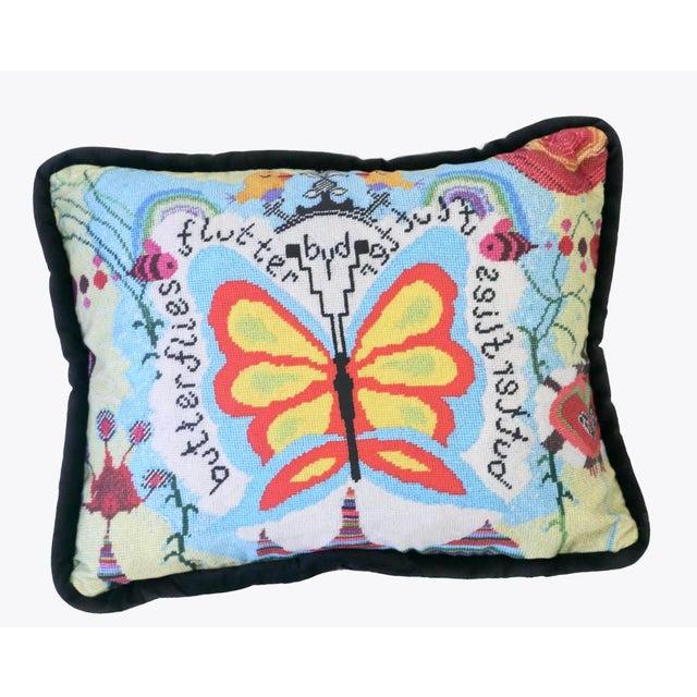 Folk Art Custom Designed Butterfly Garden Pillow For Sale - Image 3 of 7
