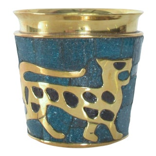 Salvador Teran Brass Malachite Mosaic Tumbler 1960s Style William Spratling Mexico For Sale