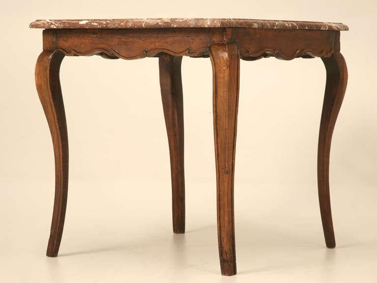 18th Century Antique French Louis XV Cherry Side Or Hall Table With Marble  Top   Image
