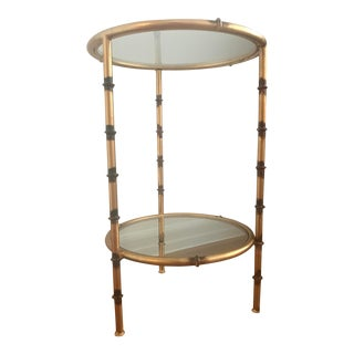 "Antiqued ""Jefferson"" Bamboo Side Table For Sale"