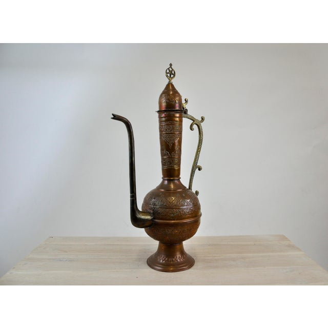 Antique 19th C. Middle Eastern Tinned Copper Ewer For Sale - Image 11 of 11