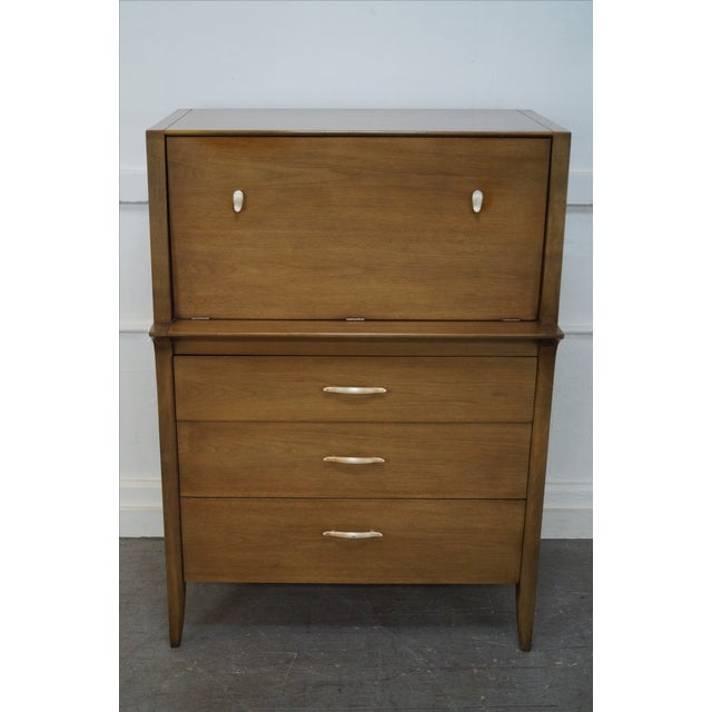 Drexel Profile Mid Century Walnut Gentlemans Tall Chest by Van Koert AGE/COUNTRY OF ORIGIN: Approx 50 years, America...