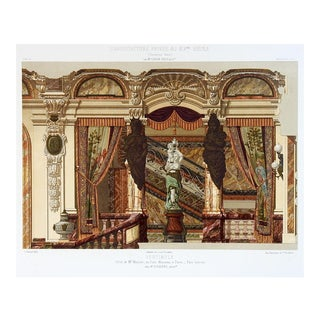 1870's French Hotel Menier Architectural Ornament Lithograph For Sale
