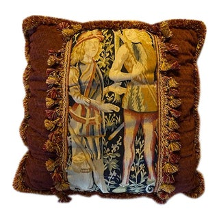 17th Century Antique Flemish Tapestry Pillow For Sale
