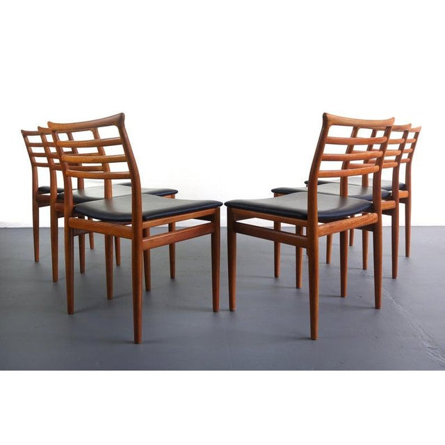 Mid-Century Modern Danish Modern Erling Torvits Dining Chairs in Teak w/ Black Leather Seats, Denmark For Sale - Image 3 of 6