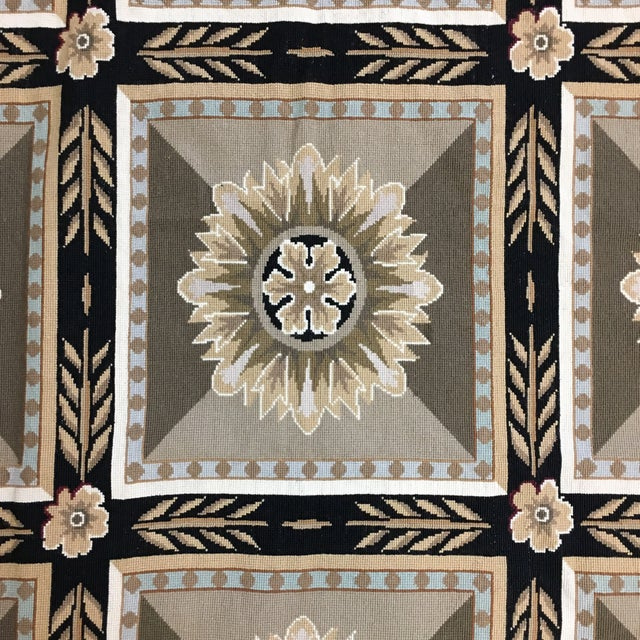 French Hand Woven Aubusson Needlepoint Area Rug - 5′5″ × 9′8″ - Image 4 of 11