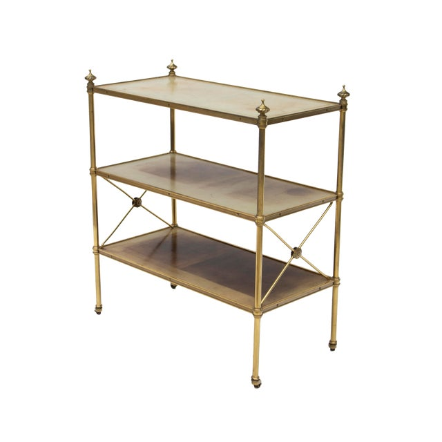 Petite Leather-Lined Brass Etagere or Bookshelf by Baker For Sale