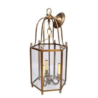 Rustic Brass and Glass Lantern Three-Light Hall Lantern