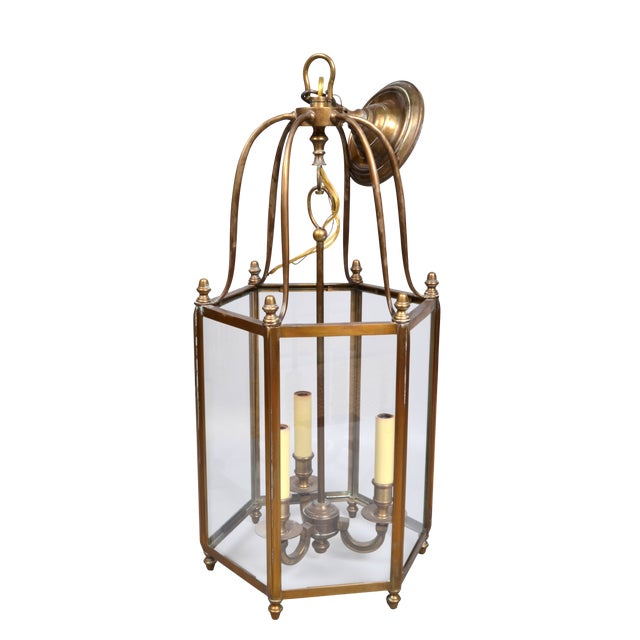 Rustic Brass and Glass Lantern Three-Light Hall Lantern For Sale