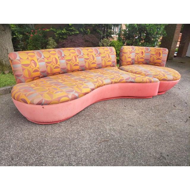 "Textile Rare 80's Vladimir Kagan ""Comet"" Swivel Sectional Sofa For Sale - Image 7 of 11"