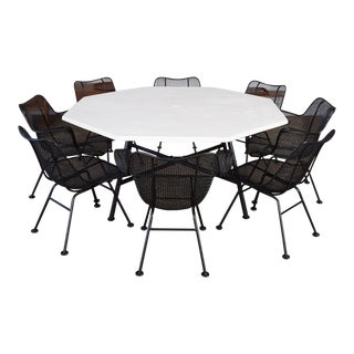 """Patio Dining Set With Eight """"Sculptura"""" Chairs by Russell Woodard For Sale"""