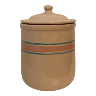 1940s McCoy USA Pottery Pink & Aqua Striped Canister