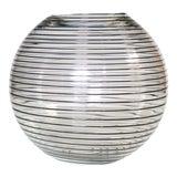Image of Large Vintage Modernist Glass Bowl With Black Swirls For Sale
