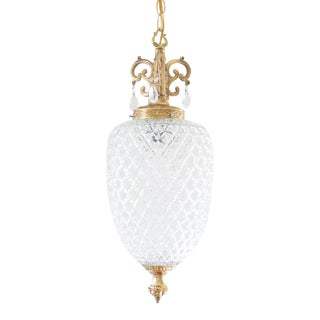 Pineapple Pendant Light / Swag Lamp, Hollywood Regency, Clear Pressed Glass