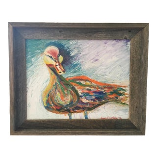 Barn Wood Framed Duck Painting For Sale
