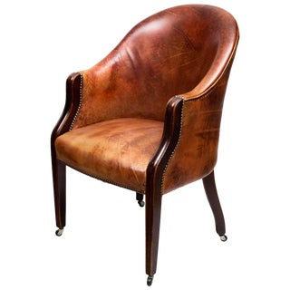 Edwardian Leather Tub Chair For Sale