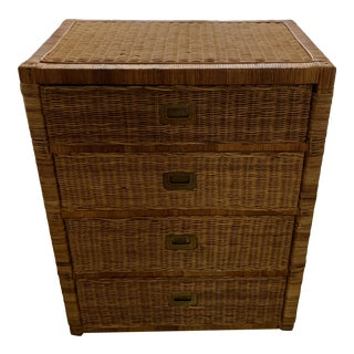 MId 20th Century Wicker Rattan Campaign Style Chest of Drawers For Sale