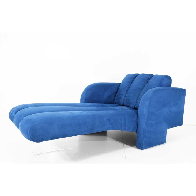 Beautiful chaise by Vladimir Kagan. New upholstery in a soft faux suede by Castel from Italy.