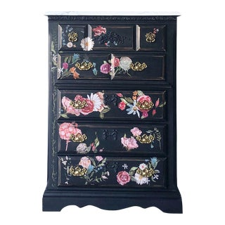 Tall Midnight Floral Storage Dresser Chest With Pinstriped Siding and Faux Marbleized Top For Sale
