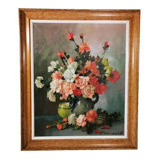 20th Century Romantic French Oil on Canvas Painting For Sale