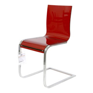 Italian Minimal Modern Red Methacrylate Lucite Chair For Sale