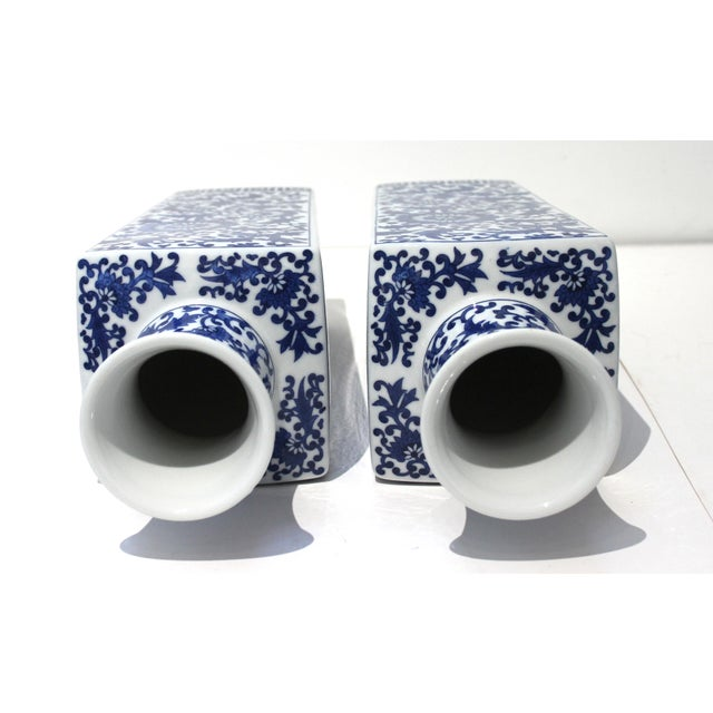 Vintage Blue & White Silk Road Style Vases - a Pair For Sale In West Palm - Image 6 of 9