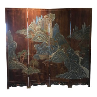 Vintage Asian Folding Screen For Sale