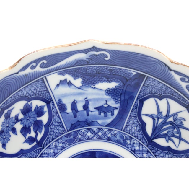 1960s Japanese Pictorial Blue & White Imari Painted Decorative Plate, Artist Signed For Sale - Image 5 of 8