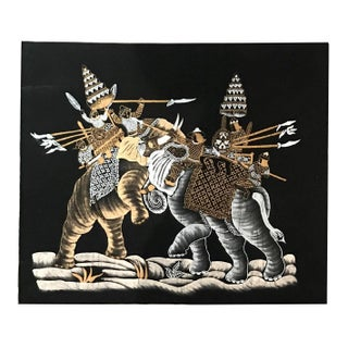 Mid-Century Indian Batik Fabric 'Battle of Elephant Warriors' For Sale