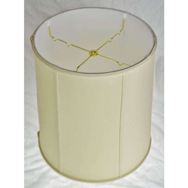 Vintage Fabric Lined Drum lampshade W/ Spider Reflector Fitter For Sale - Image 4 of 11