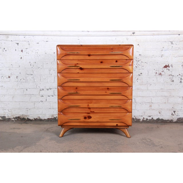 Franklin Shockey Rustic Modern Sculptured Pine Highboy Dresser C. 1950s For Sale - Image 10 of 10