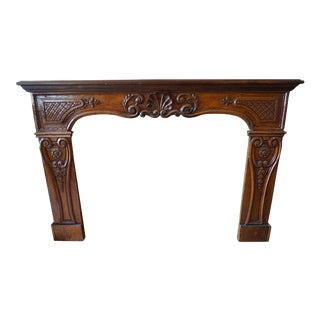 Antique Walnut Mantel For Sale