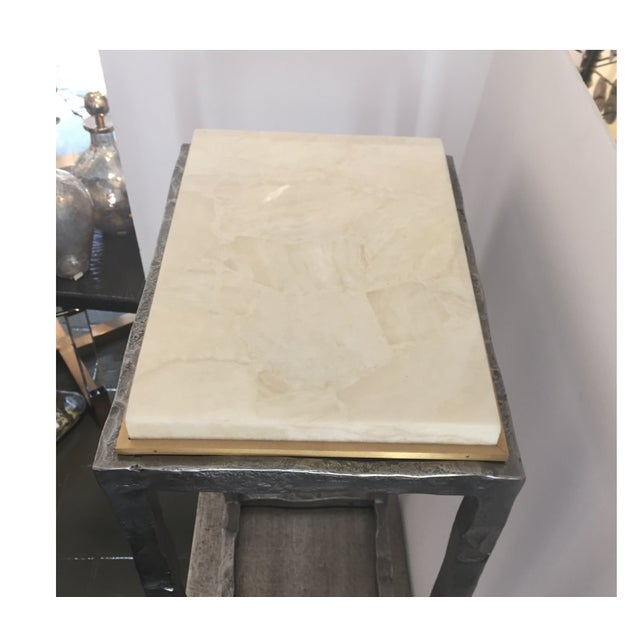 Modern Marble & Metal Sculpture Table For Sale - Image 4 of 5