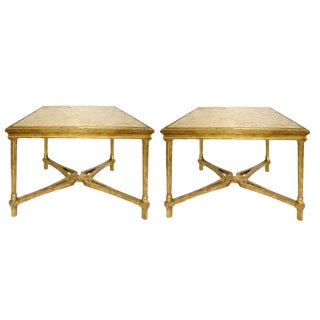 Pair of Carved Italian Gilt-Wood Side Table With Marble Top by Randy Esada Designs For Sale