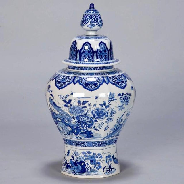 Asian Large Blue and White Chinese Ginger Jar or Dutch Vase with Lid For Sale - Image 3 of 9