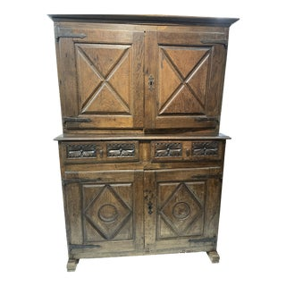 Hand Forged French 17th Century Oak Cabinet For Sale