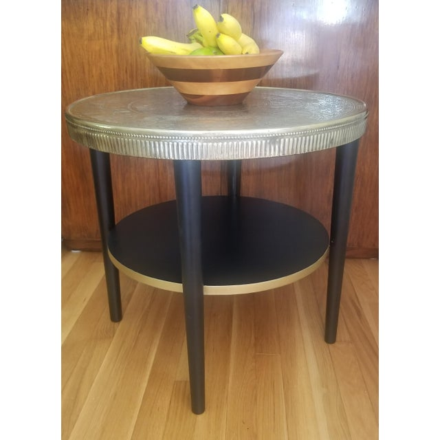 Vintage Egyptian Revival Brass Top Double Tiered Accent Table For Sale - Image 9 of 11