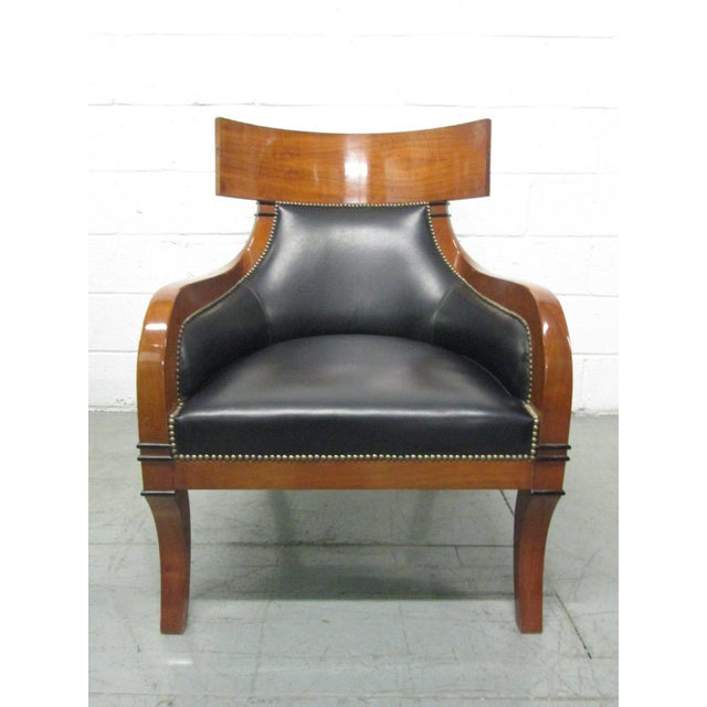 Art Deco Leather Biedermeier Style Lounge Chair For Sale - Image 3 of 9