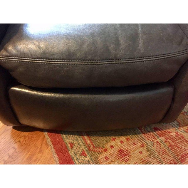 Brown Traditional Lee Industries Supple Leather Swivel Club Chairs - a Pair For Sale - Image 8 of 13