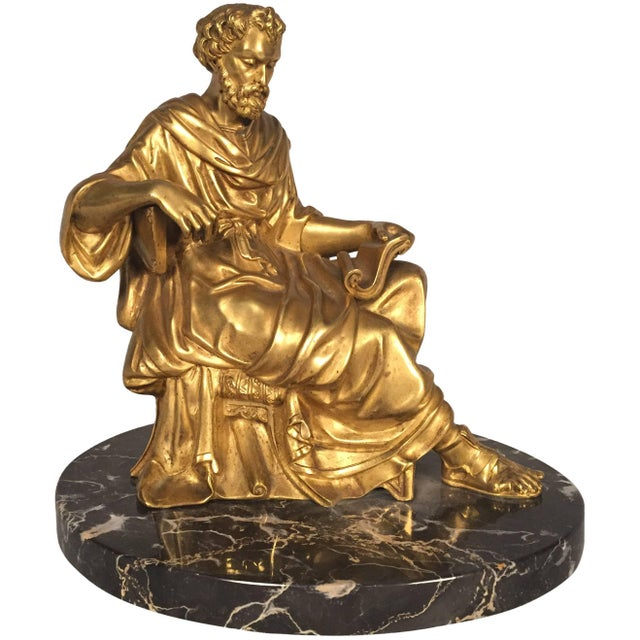 Late 19th Century Classical Figure of a Philosopher, French, Gilt Bronze For Sale - Image 5 of 5
