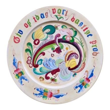 1800s Norwegian Bread Platter, Signed For Sale