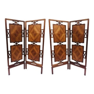 1950s Mid-Century Chinoiserie Fretwork Folding Screens Room Divider Panel - a Pair For Sale