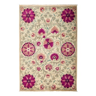 """New Hand-Knotted Suzani Pink & Tan Rug - 4'2"""" X 6'2"""" For Sale"""