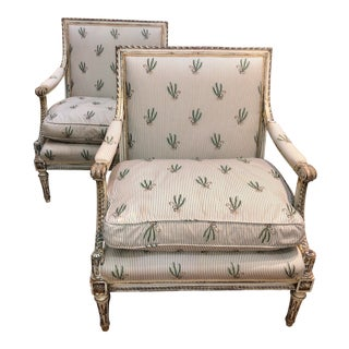 French Louis XVI Style Upholstered Bergere Chairs - a Pair For Sale