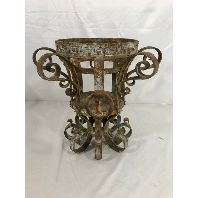 French Country Wrought Iron Fretwork Planters a Pair For Sale - Image 3 of 13
