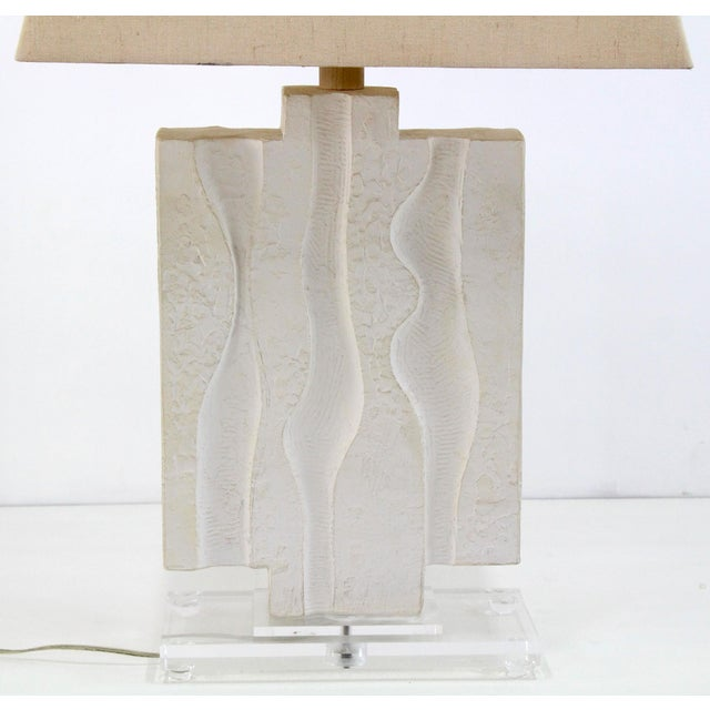 Brutalist Mid Century Plaster Lamp on Lucite Base For Sale - Image 3 of 7