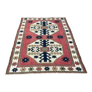 1960s Vintage Turkish Oushak Handmade Rug - 4′9″ × 6′2″ For Sale